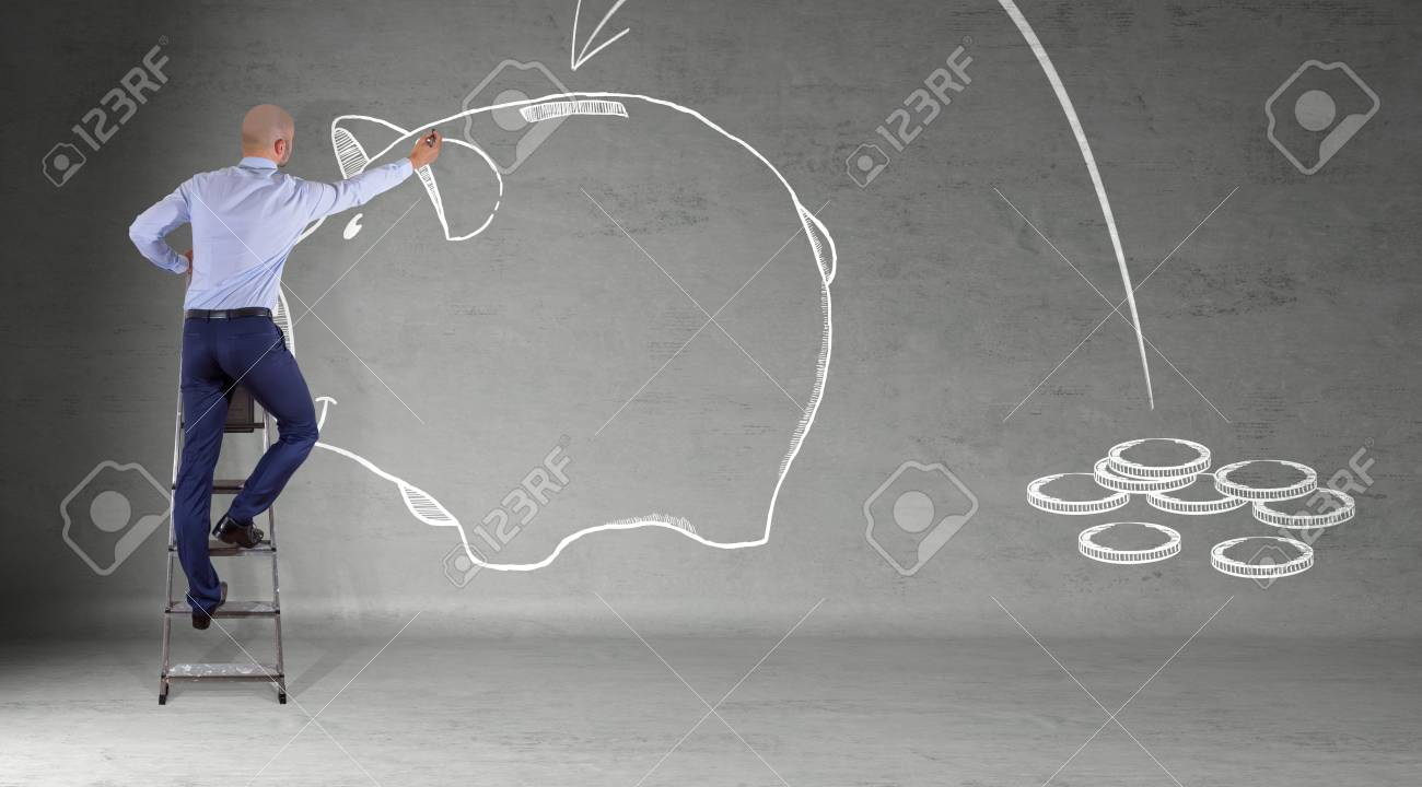 hight resolution of businessman in modern interior drawing a sketch piggy bank on a wall 3d rendering stock photo