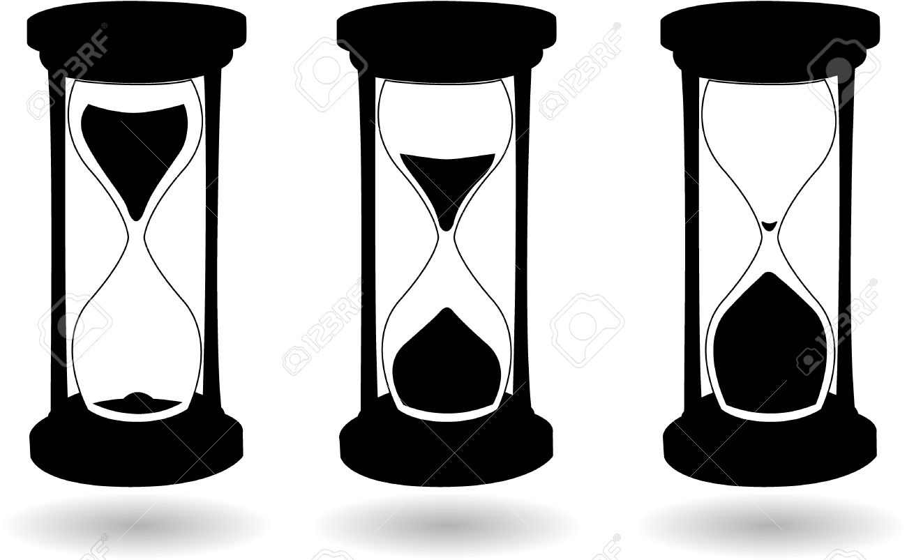 hight resolution of the vector black and white hourglass stock vector 6480969