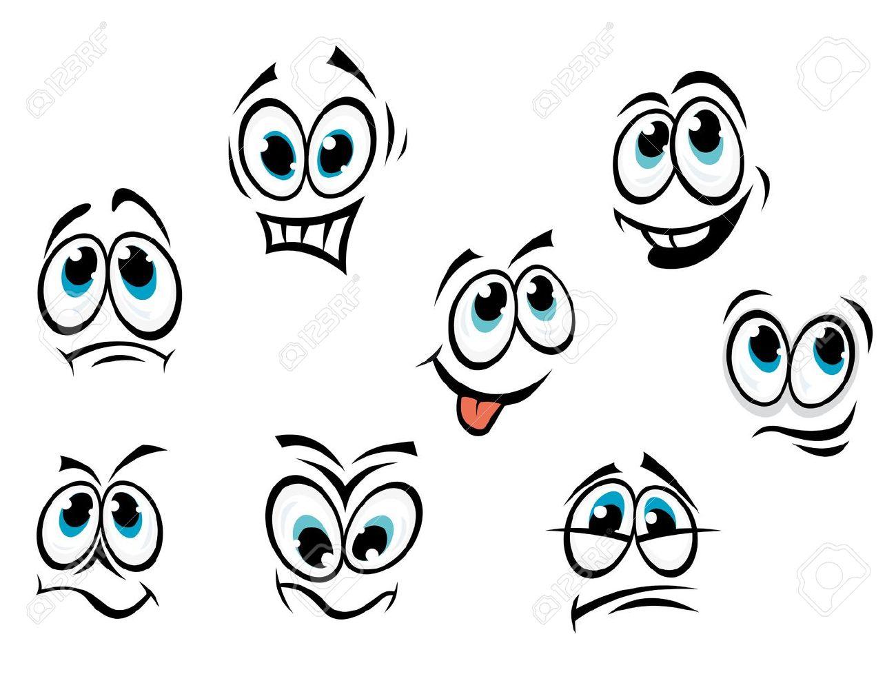 comics cartoon faces set