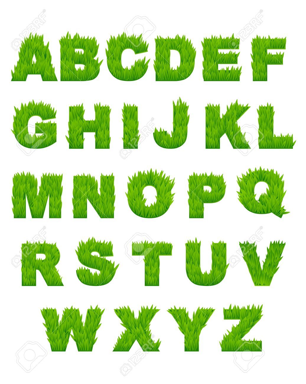 green grass letters of