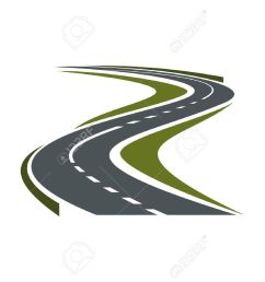 modern paved road or highway symbol with hairpin curve disappearing into the distance for car trip [ 1300 x 919 Pixel ]