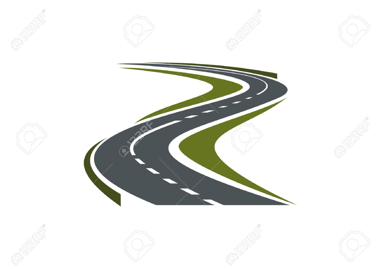 hight resolution of modern paved road or highway symbol with hairpin curve disappearing into the distance for car trip