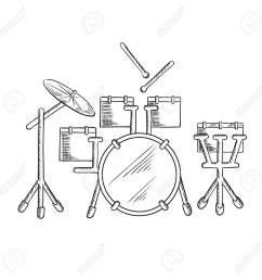 drum set sketch with traditional kit of bass drum two hanging toms snare drum [ 1300 x 1300 Pixel ]