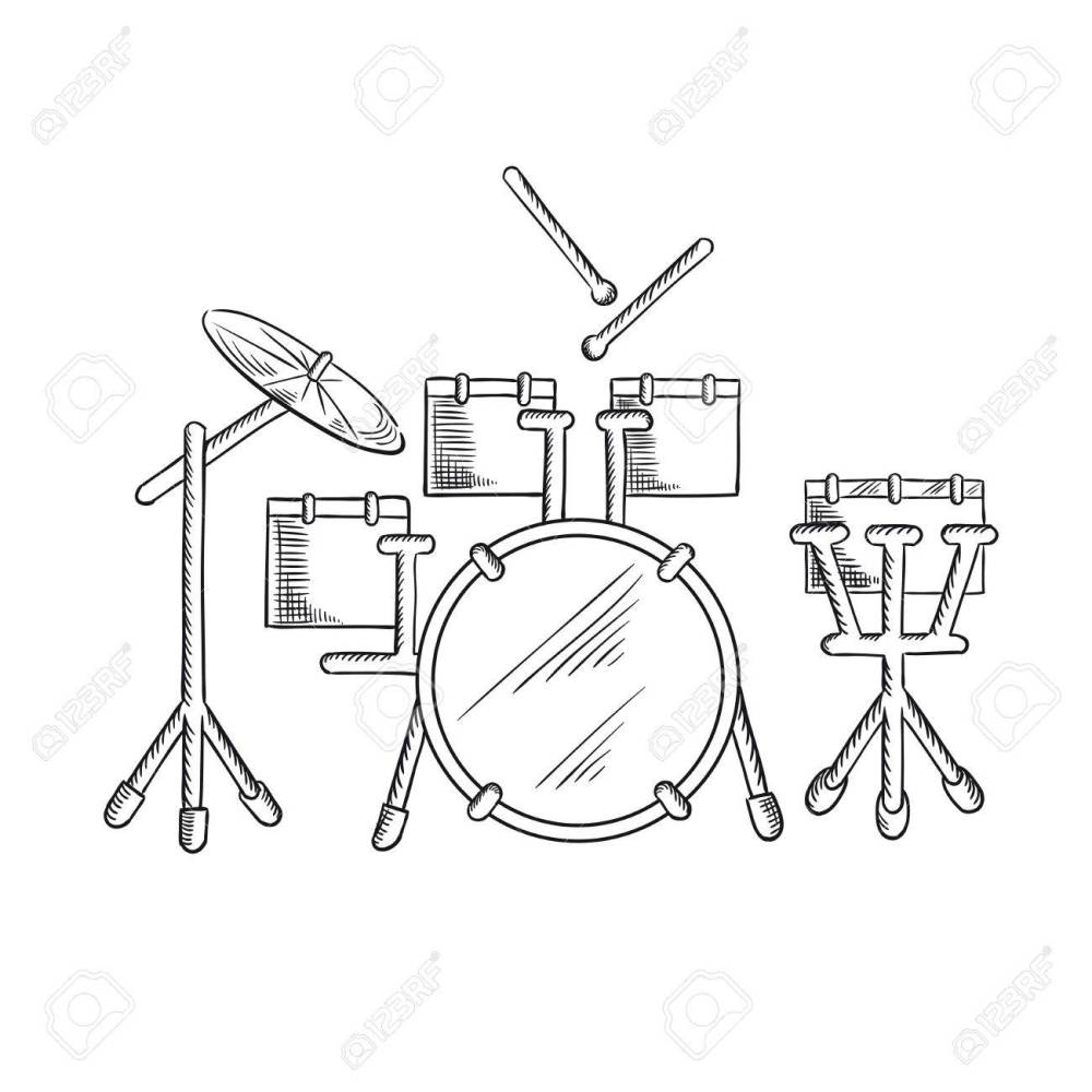 medium resolution of drum set sketch with traditional kit of bass drum two hanging toms snare drum