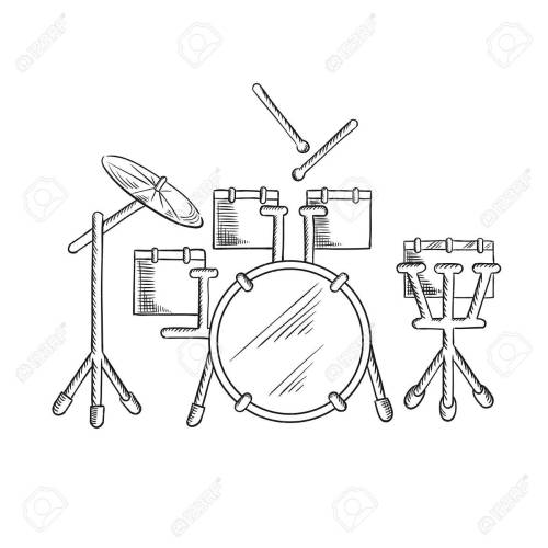 small resolution of drum set sketch with traditional kit of bass drum two hanging toms snare drum