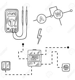 digital voltmeter electricity meter with socket and switches electrical circuit diagram sketch icons [ 1300 x 1300 Pixel ]