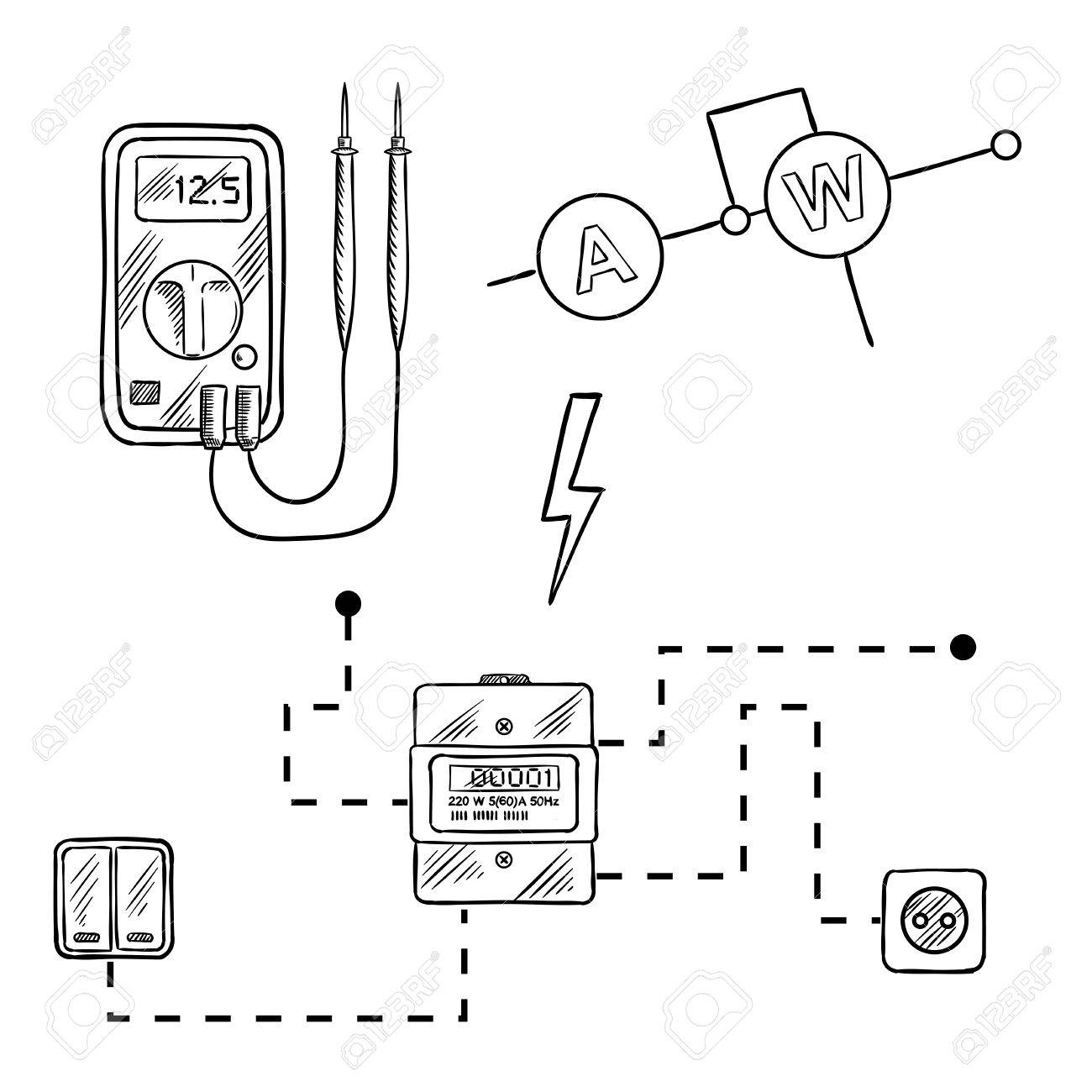 hight resolution of digital voltmeter electricity meter with socket and switches electrical circuit diagram sketch icons