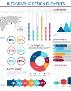Infographics design elements with pie charts and step diagram circles world map pointers also rh rf
