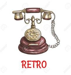 old vintage retro phone with receiver dial wire vector color sketch antique telephone [ 1300 x 1300 Pixel ]