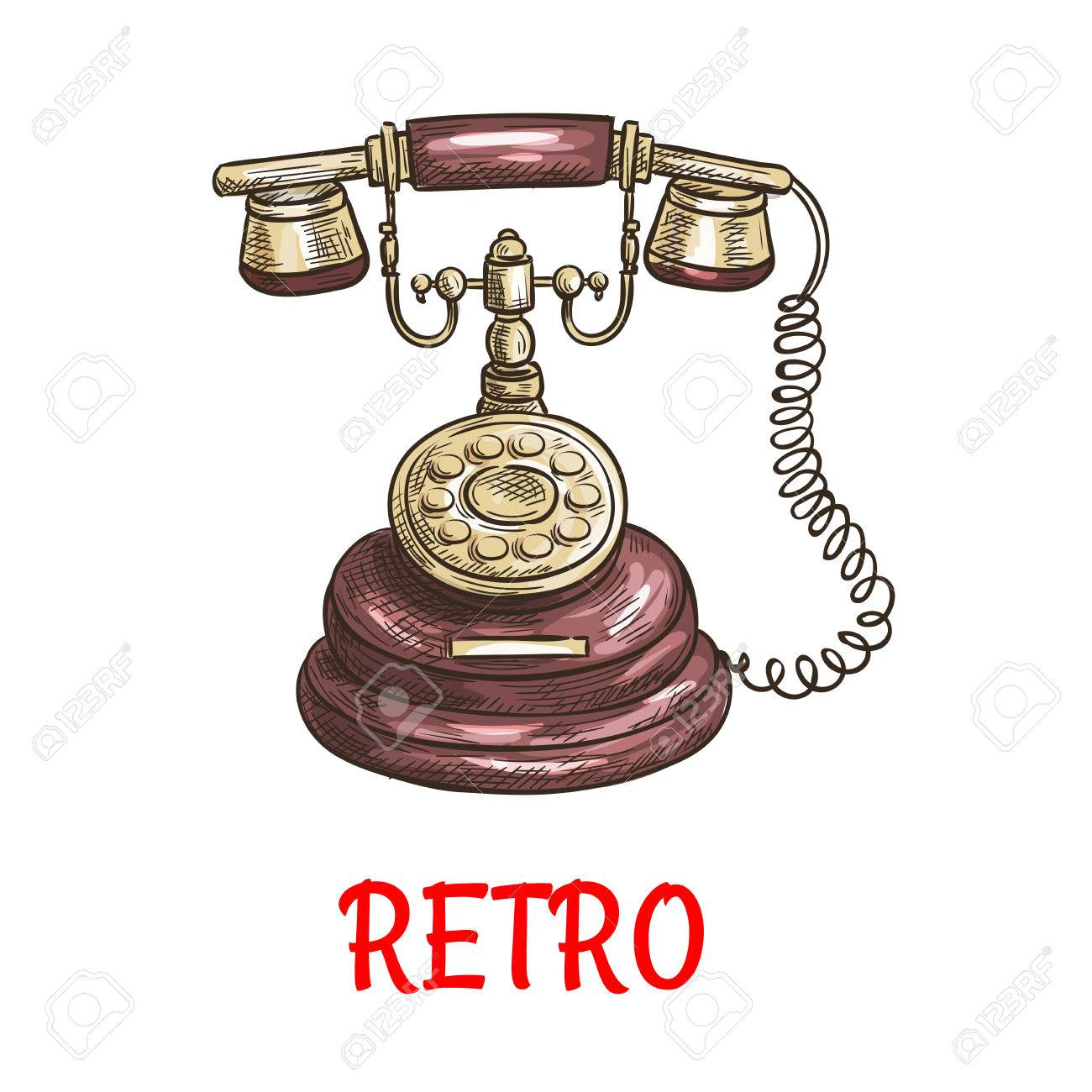 hight resolution of old vintage retro phone with receiver dial wire vector color sketch antique telephone