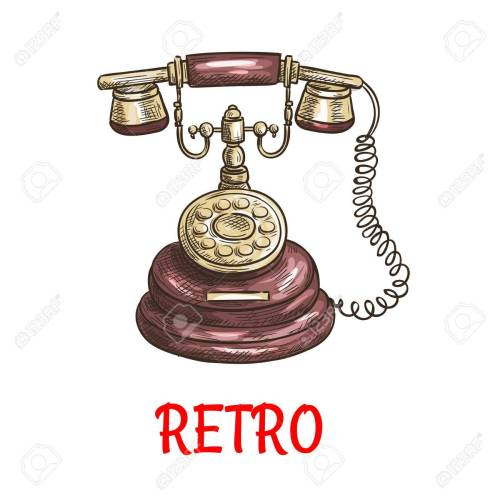 small resolution of old vintage retro phone with receiver dial wire vector color sketch antique telephone