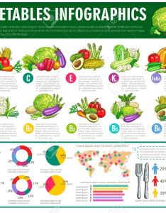 Vector vegetables infographics graph charts or diagrams of consumption vitamines veggies nutrition facts vegetarian healthy food statistics also rh rf