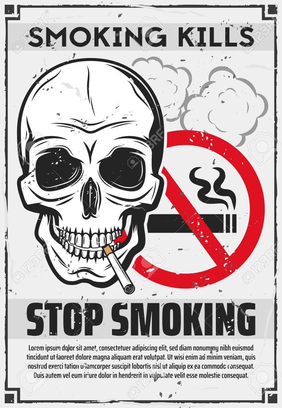 stop smoking poster of skull with cigarette red forbidden sign