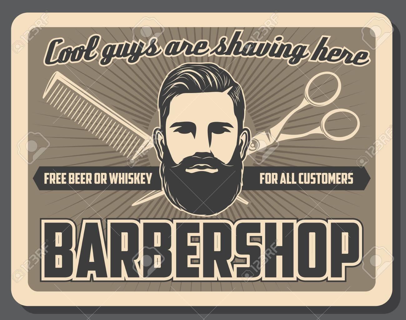 barbershop mustache and beard razor shaving salon vintage poster