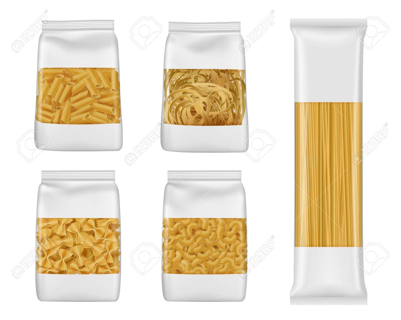 Discover 3 noodles box mockup designs on dribbble. Pasta And Italian Macaroni Food Package 3d Vector Mockups Of Foil And Plastic Bags With Windows Realistic Templates Of Spaghetti Penne And Farfalle Tagliatelle And Elbow Vermicelli Packaging Royalty Free Cliparts Vectors