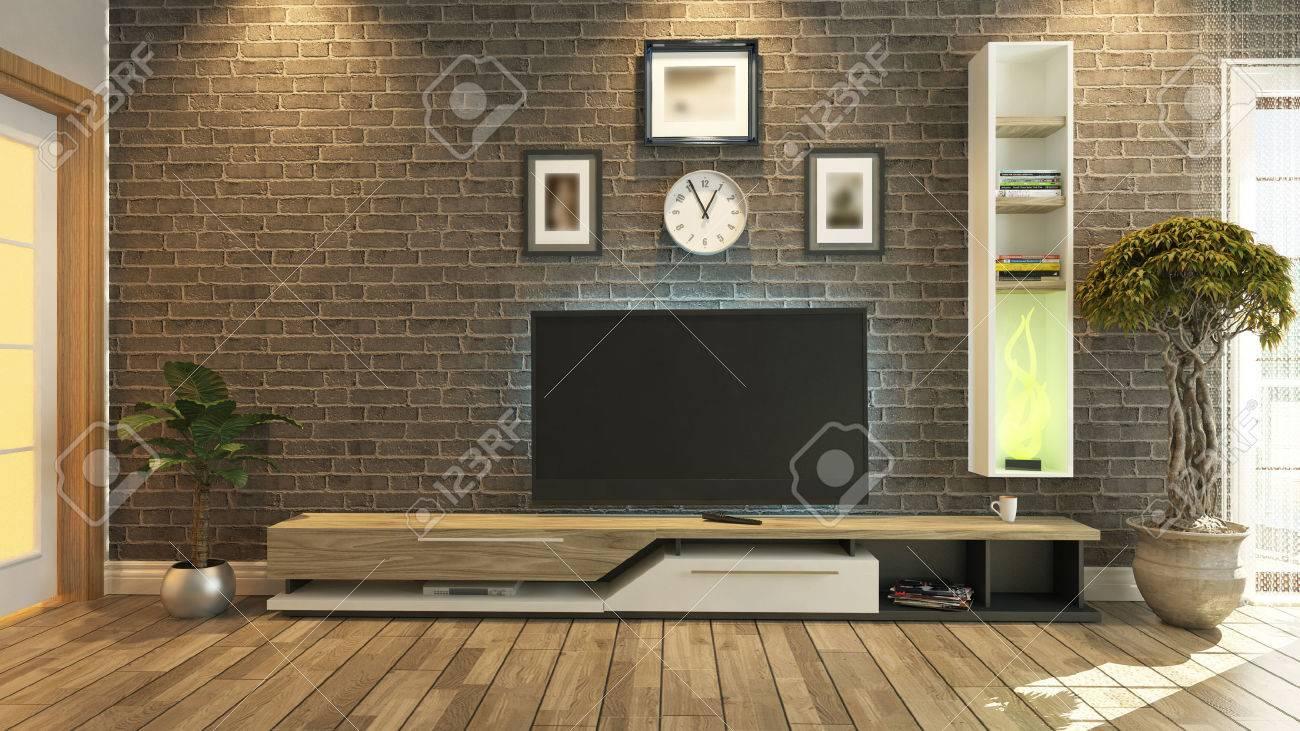 salle de television un salon ou salle de sejour avec l usine de mur de briques et de design de television par sedat sept