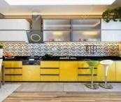 black white and yellow kitchen