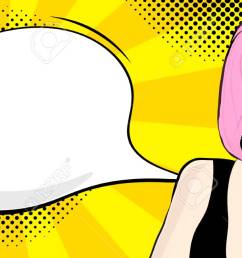 foto de archivo pop art girl with speech bubble vector illustration clipart  [ 1300 x 650 Pixel ]