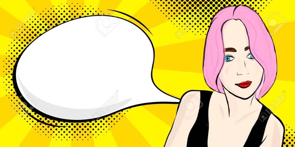 medium resolution of foto de archivo pop art girl with speech bubble vector illustration clipart