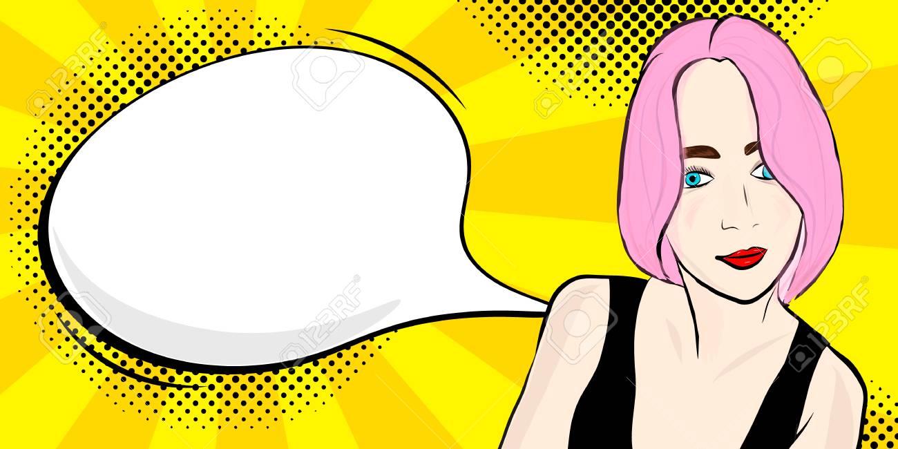 hight resolution of foto de archivo pop art girl with speech bubble vector illustration clipart