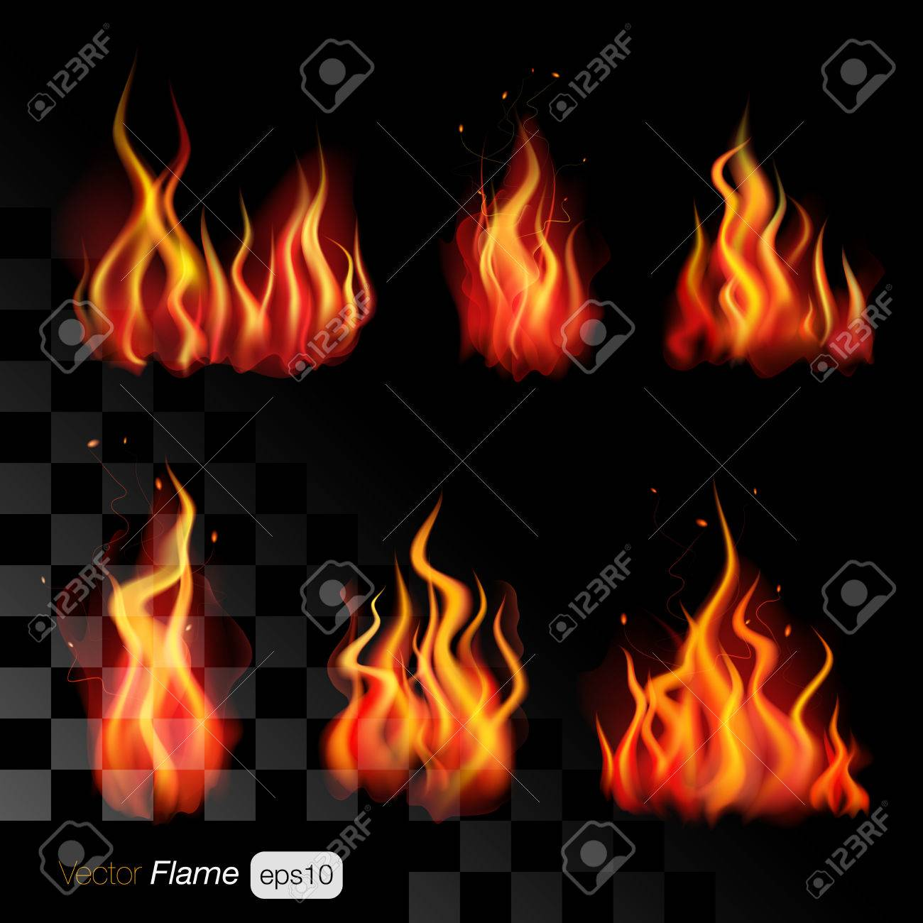 realistic fire flames on