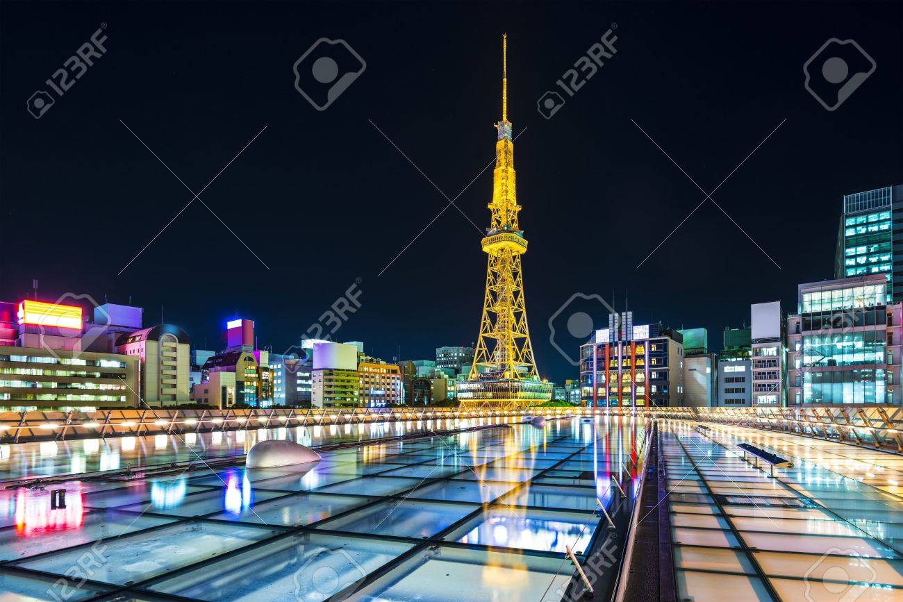 Nagoya Japan City Skyline With Nagoya Tower