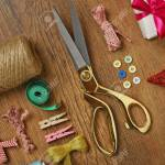 Sewing Creative Accessories On Wooden Table Top View Stock Photo Picture And Royalty Free Image Image 105942830