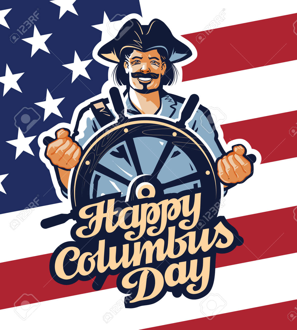 hight resolution of christopher columbus on american flag background stock vector 54649506