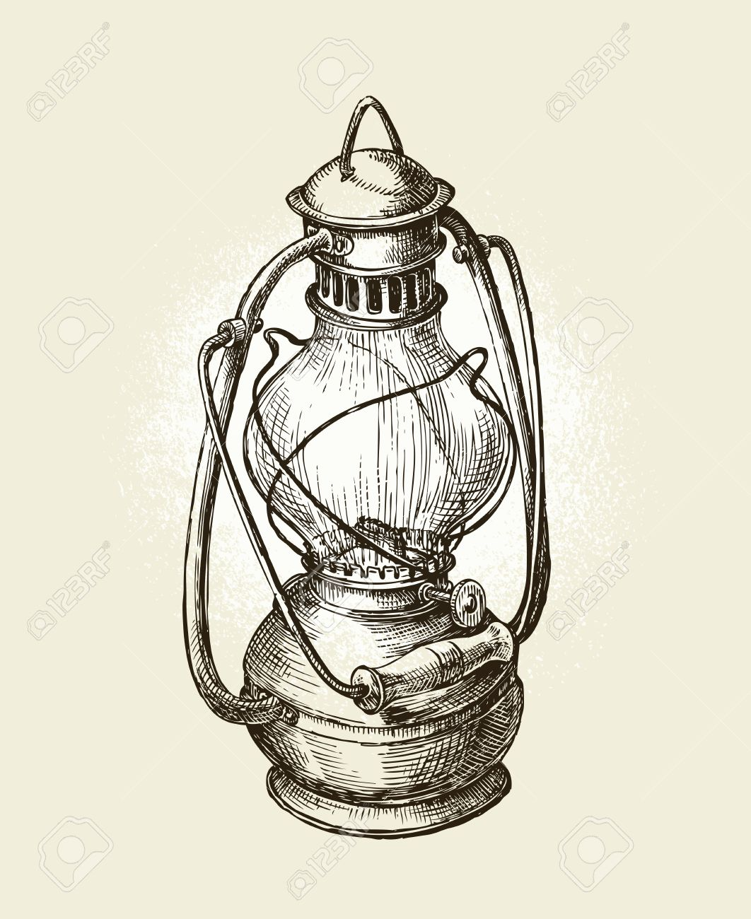Hand Drawn Vintage Kerosene Lamp Sketch Oil Lamp Vector Illustration Royalty Free Cliparts Vectors And Stock Illustration Image 62204984
