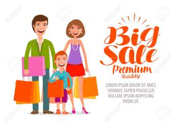 Big Sale Banner Happy Family With Shopping Bags Cartoon Vector Royalty Free Cliparts Vectors And Stock Illustration Image 79980275