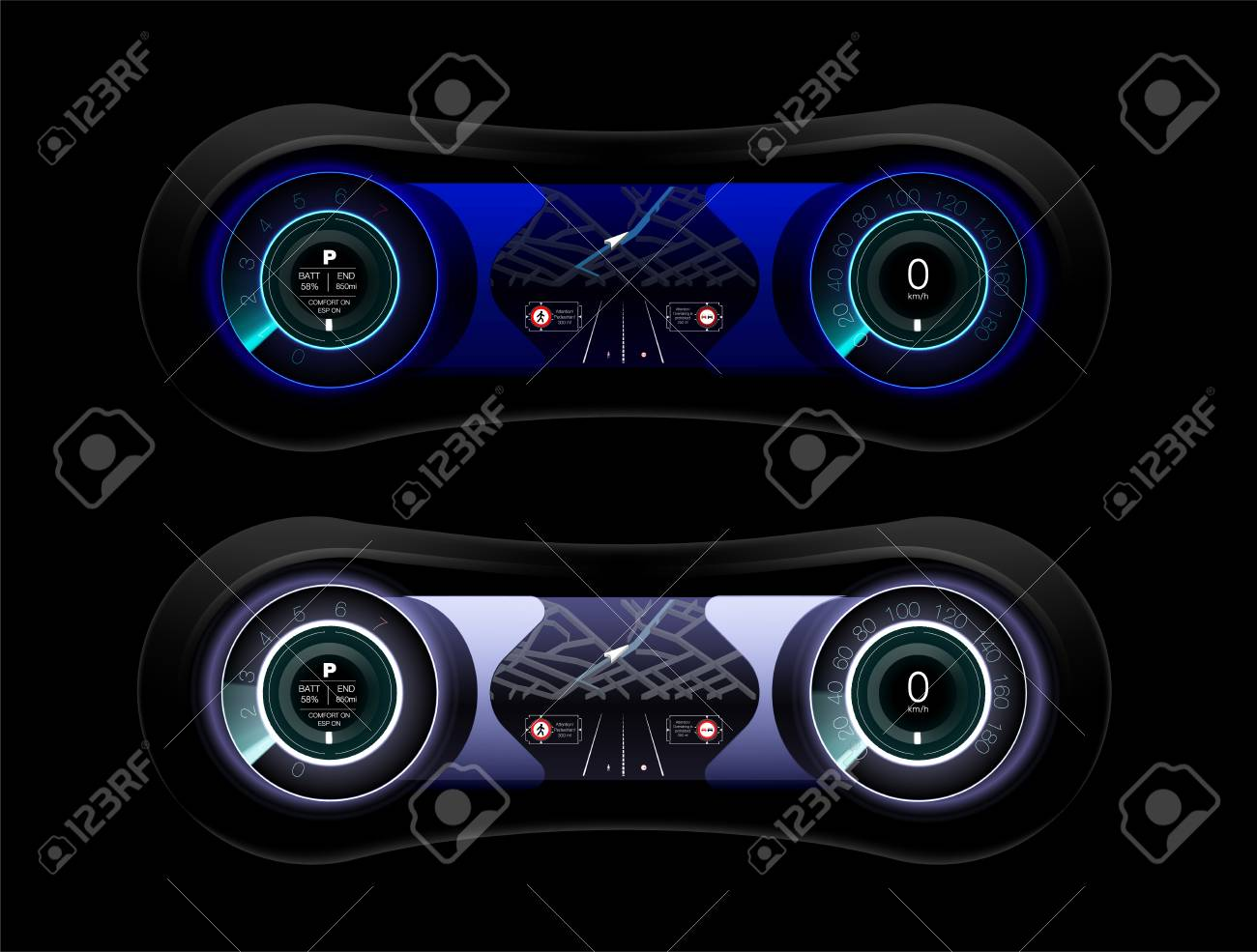 abstract futuristic car dashboard