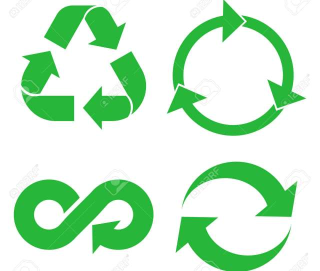 Eco Cycle Arrows Icon Set Green Recycled Symbol Isolated On White Background Vector Illustration