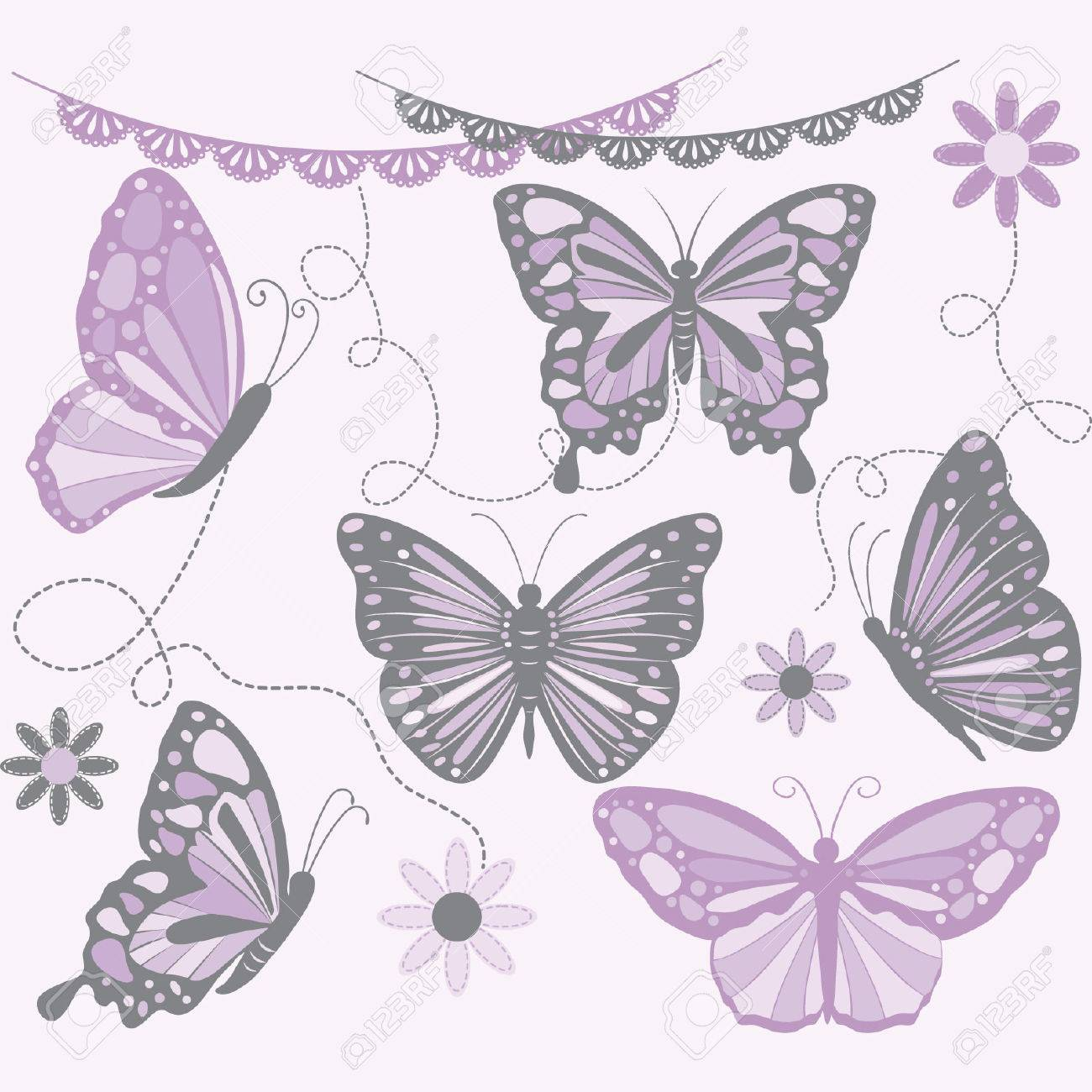 hight resolution of purple and grey butterfly butterfly silhouette flower lace border stock vector