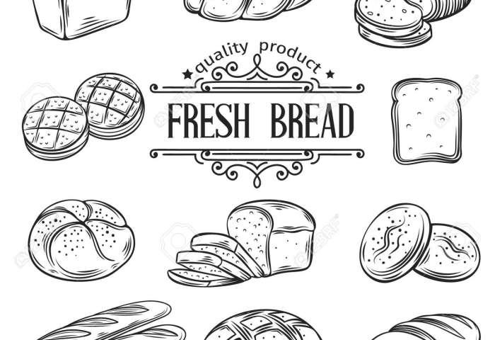 Hand Drawn Decorative Bread Bakery Vector Illustration Royalty