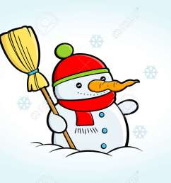 cartoon snowman clipart happy snowman stands in snowy weather suitable for christmas greeting cards [ 1300 x 820 Pixel ]