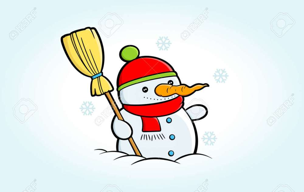 medium resolution of cartoon snowman clipart happy snowman stands in snowy weather suitable for christmas greeting cards