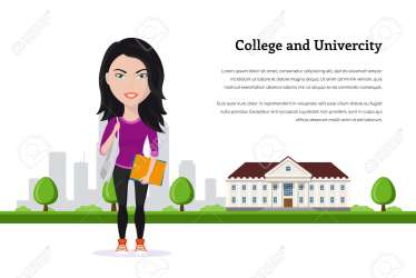 Picture Of Student Girl Character In Front Of University Building Royalty Free Cliparts Vectors And Stock Illustration Image 103828470