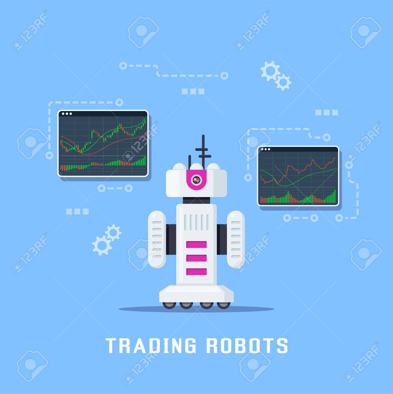 trading robots concept banner