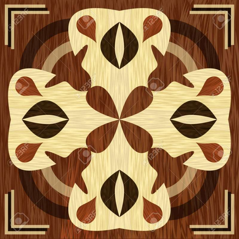 Vector Wooden Inlay Light And Dark Wood Patterns Veneer Textured Antique Geometric Ornament Art Decoration Template Eps 10