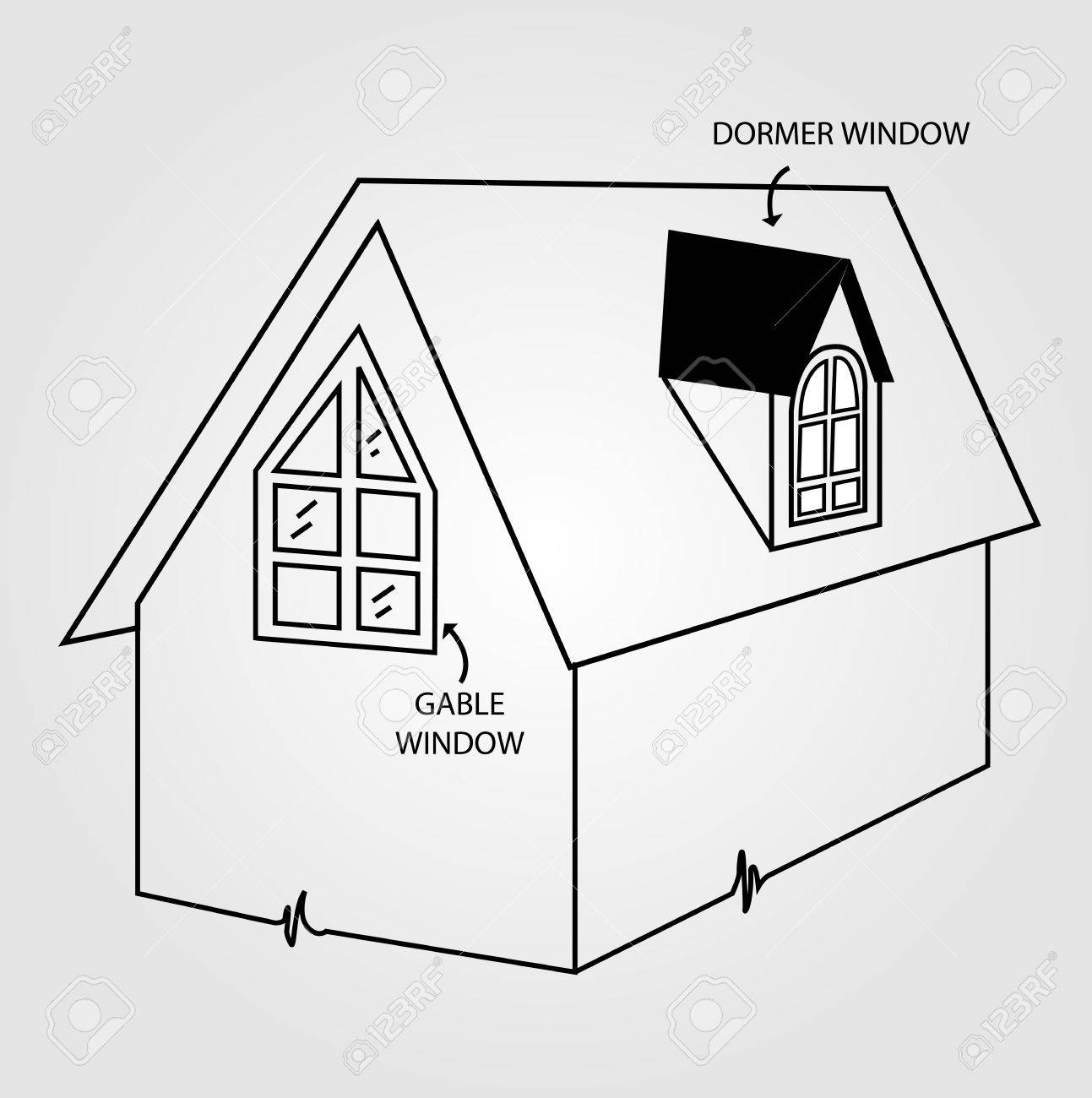 hight resolution of diagram of dormer and gable window stock vector 43044172