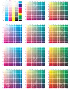 Cmyk press color chart vector palette process printing match for digital also rh rf