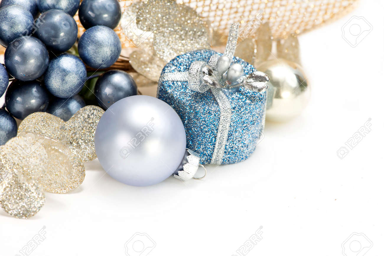 Blue Gold And Silver Christmas Decorations On White Background Stock Photo Picture And Royalty Free Image Image 52730093