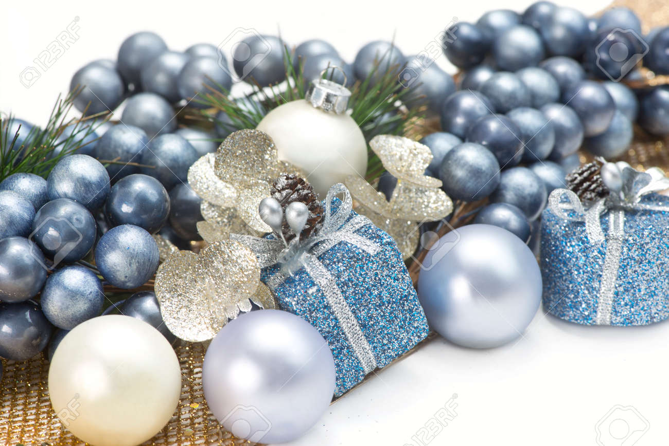 Blue Gold And Silver Christmas Decorations On White Background Stock Photo Picture And Royalty Free Image Image 63594693