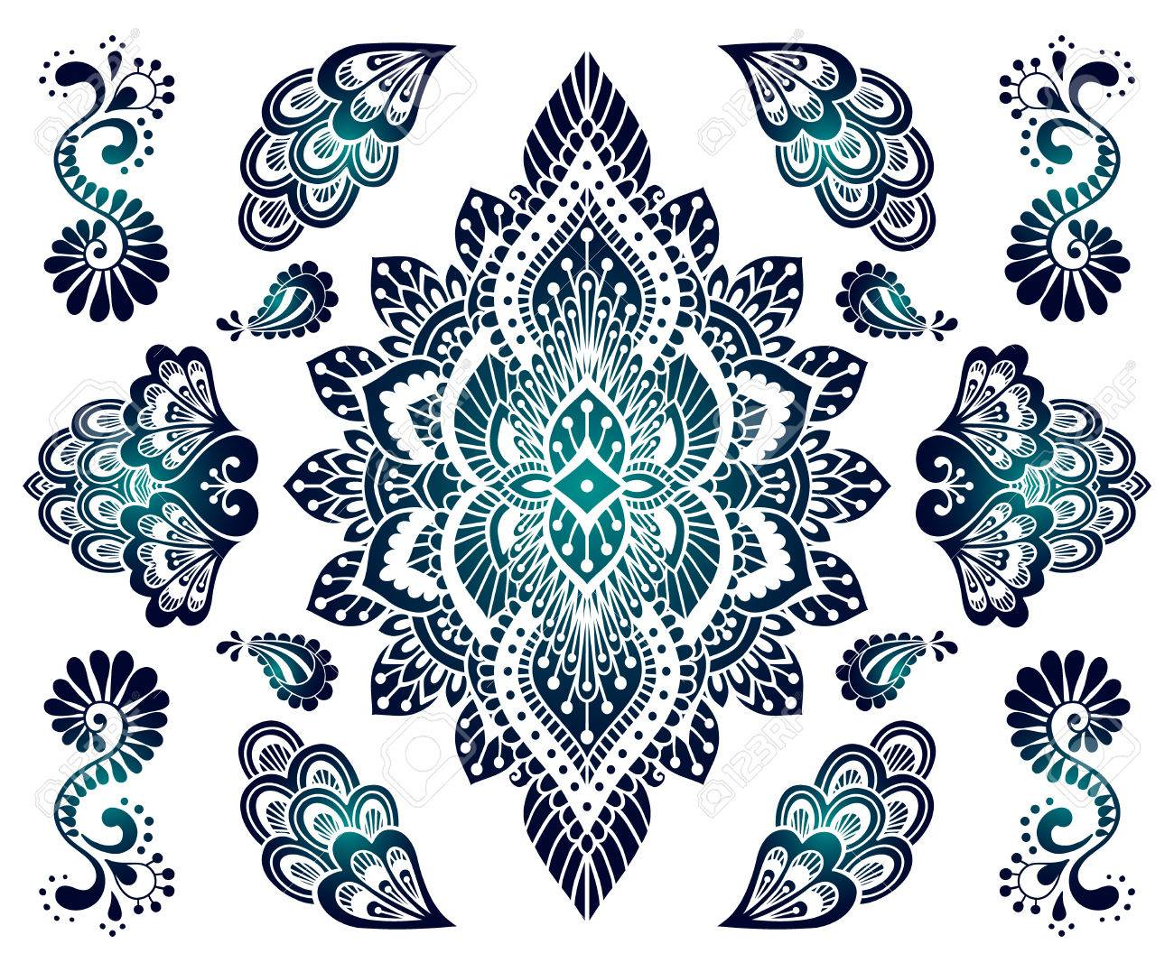 Establece El Ornamento Mehendi Dibujado A Mano Colección De