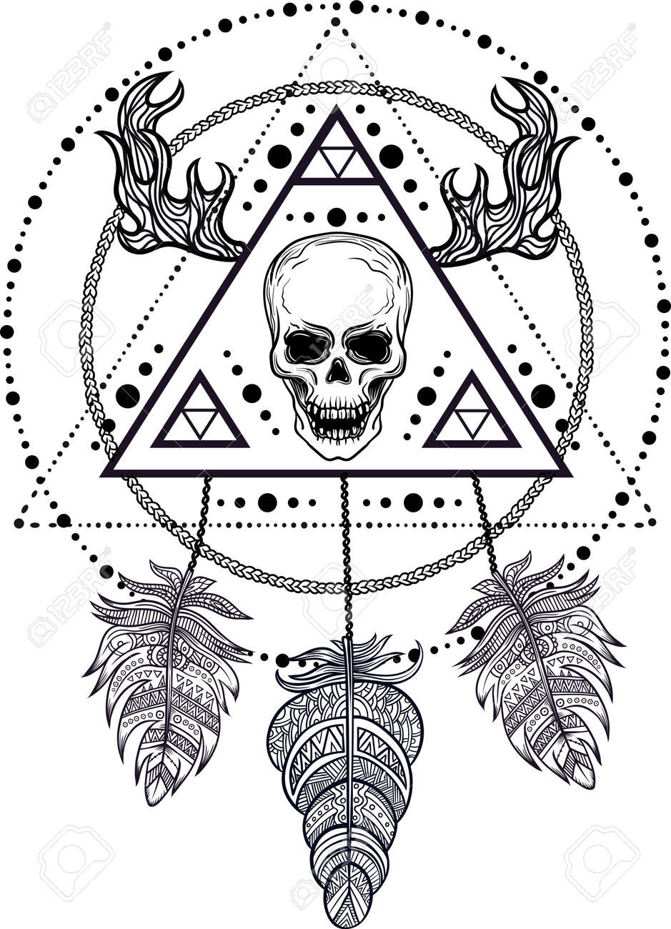 Mystic Tattoo Designs : mystic, tattoo, designs, Blackwork, Tattoo, Flash., Dreamcatcher, Human, Skull,, Feathers.., Royalty, Cliparts,, Vectors,, Stock, Illustration., Image, 64863187.