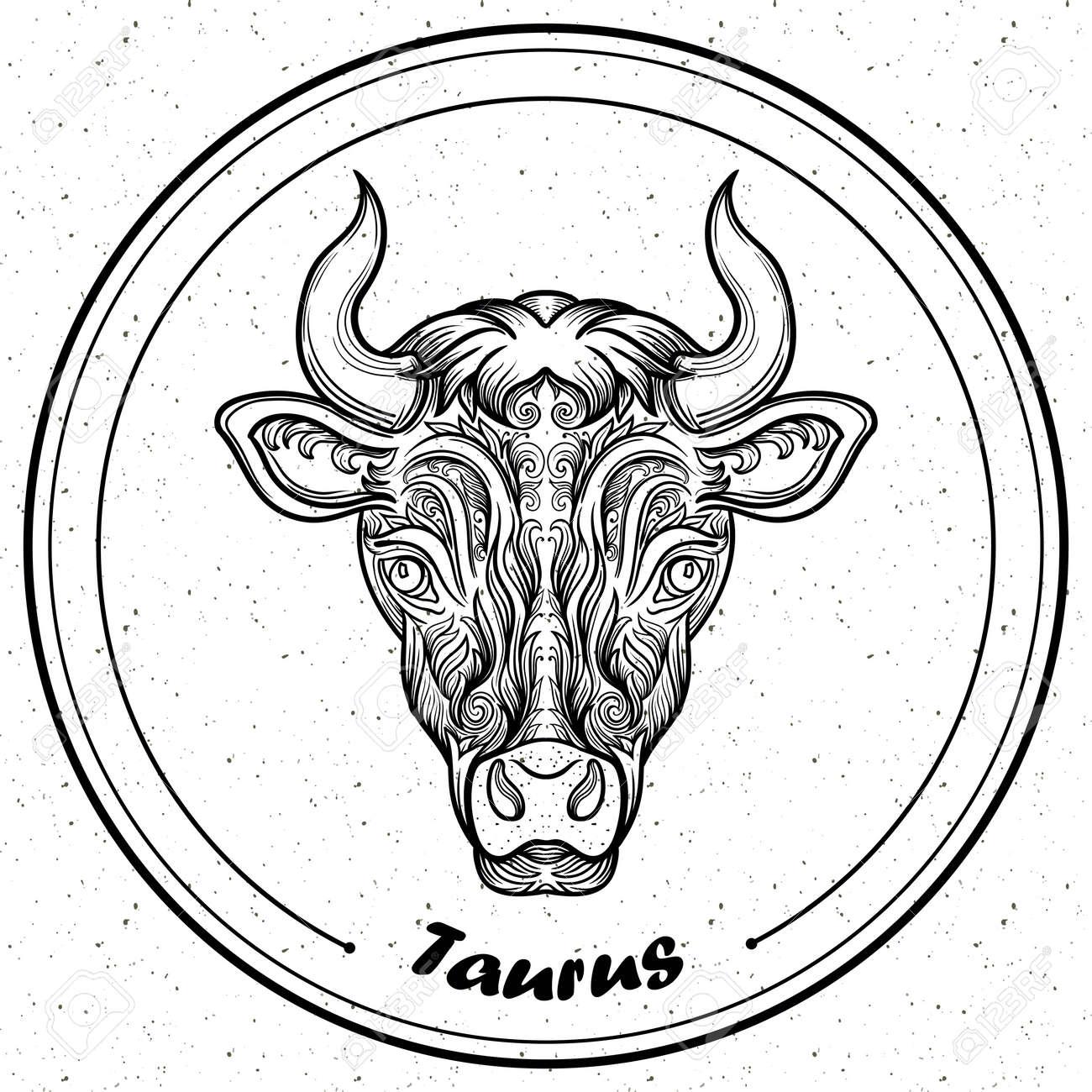 Tauro Detallada En Línea Estilo Del Arte De Filigrana Azteca