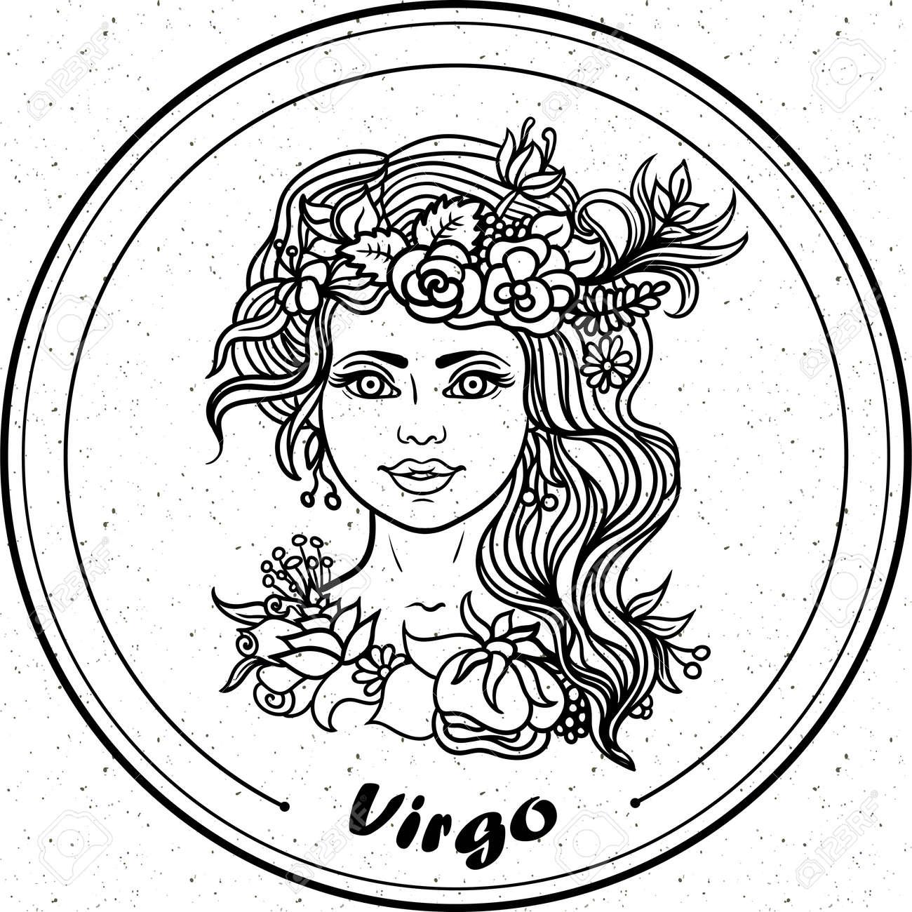 Detalla Virgo En Línea Estilo Del Arte De Filigrana Azteca Tatuaje