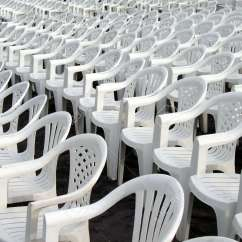 White Plastic Chairs Vanity Chair Ikea Rows Of Empty Lined Up For A Performance Stock Photo
