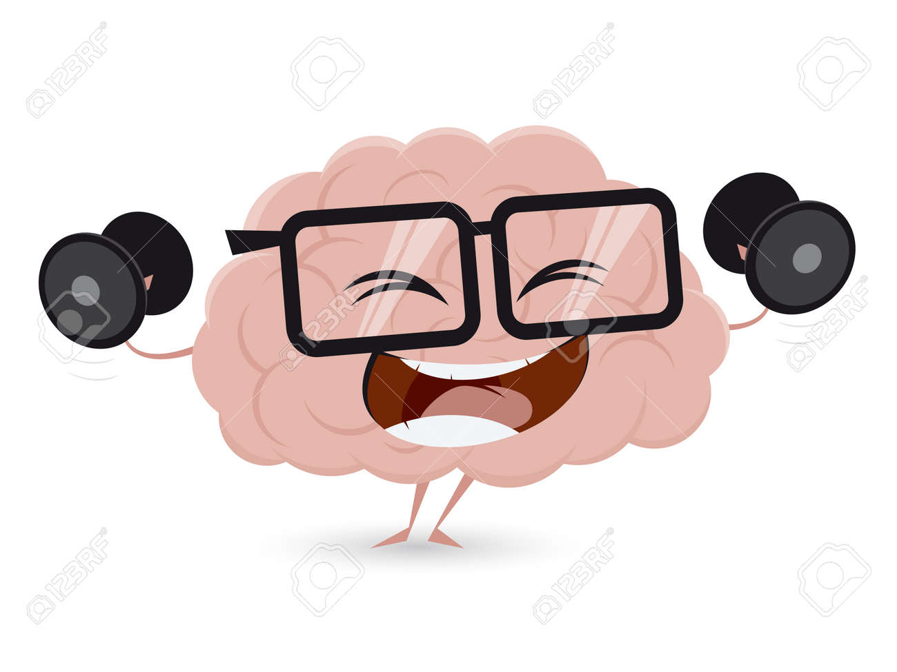 hight resolution of funny brain workout with dumbbells clipart stock vector 62340988