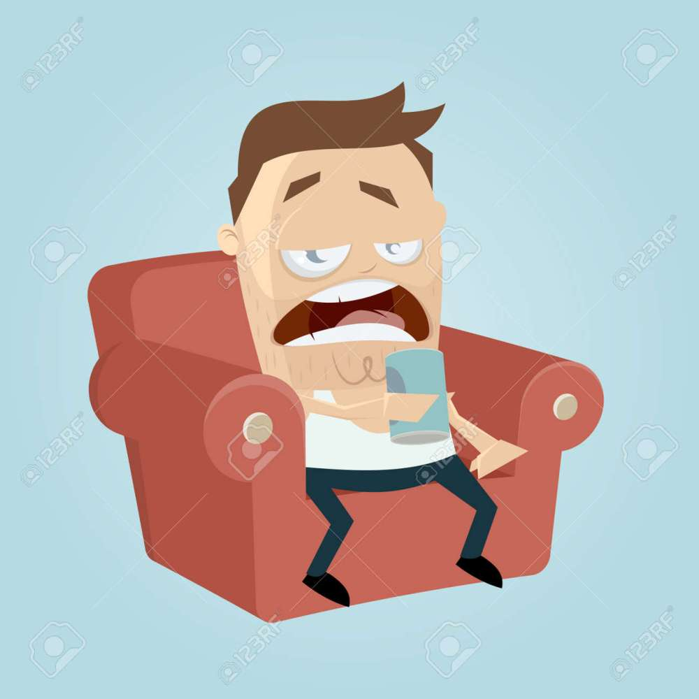 medium resolution of clipart of a bored man sitting on the sofa and drinking beer of a can stock